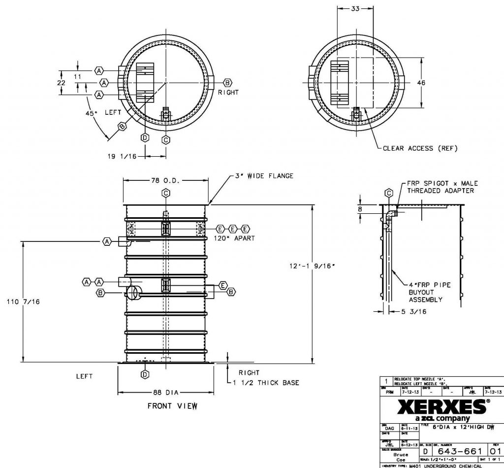 Drawing of a Double Wall Sump by Romtec Utilities