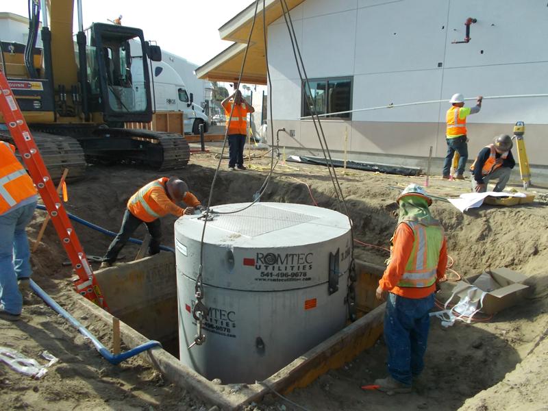 Contractors Installing Underground Concrete Wet Well Structure