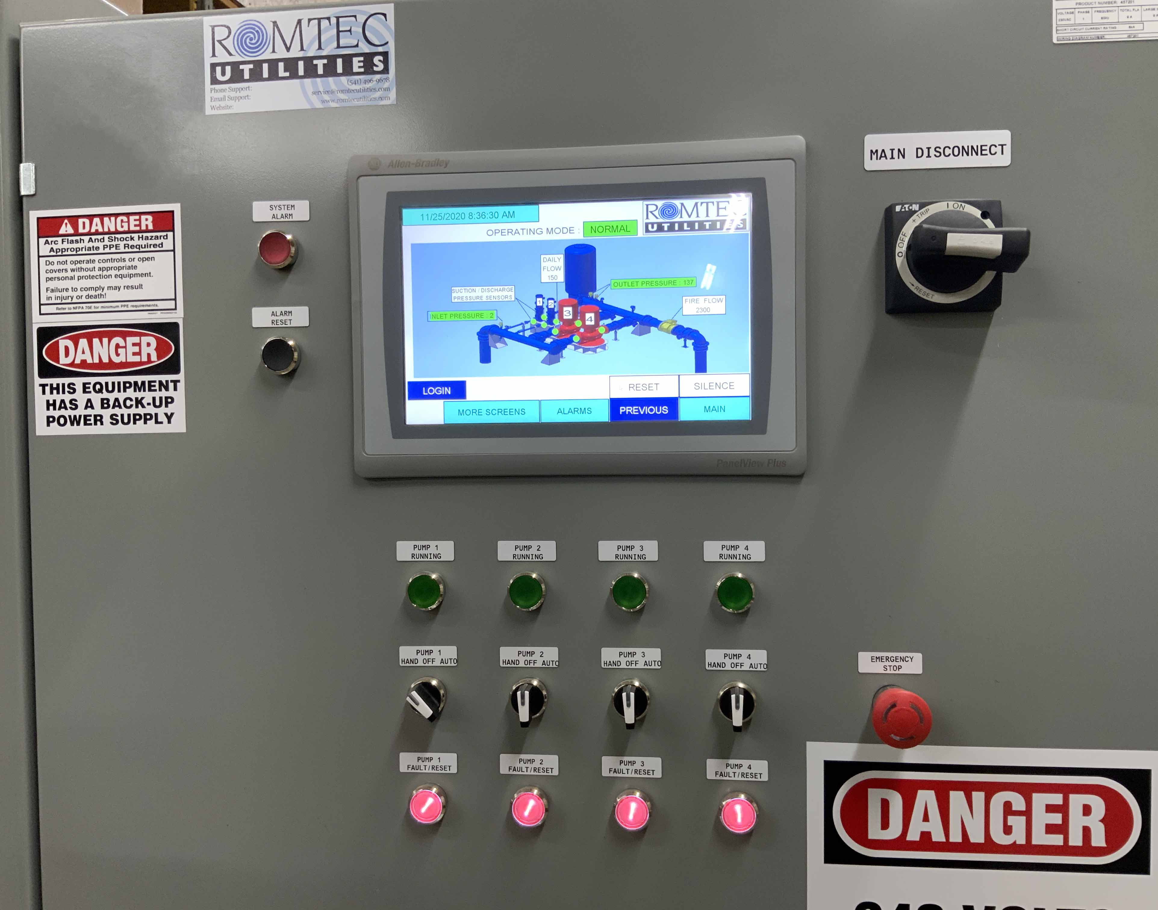 Control Panel for Booster Station